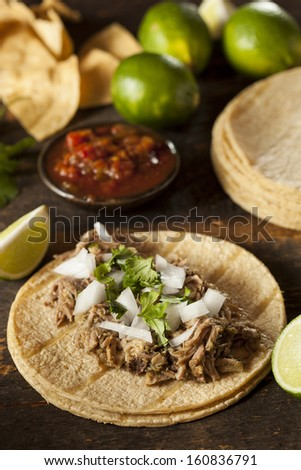Traditional Pork Tacos with Onion, Cilantro, and Lime - stock photo