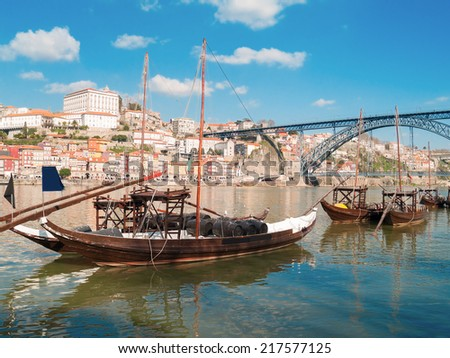 traditional port wine boats and Douro river embanment, Portugal - stock photo