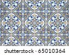 Traditional Portuguese azulejos - painted ceramic tilework. - stock photo
