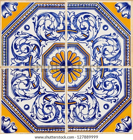 Traditional Portuguese azulejos, painted ceramic tilework - stock photo