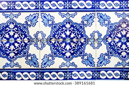 Traditional portuguese blue tiles.  - stock photo