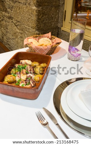 Traditional Portuguese Food, Lagareiro Octopus - stock photo