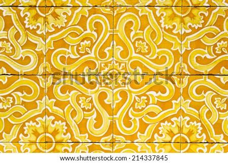 Traditional portuguese ornate tiles azulejos. - stock photo