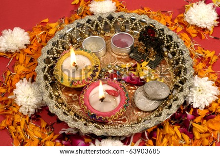 Traditional prayer offering on the occasion of Diwali Festival - stock photo