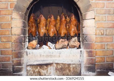 traditional processing technology to make delicious roast duck. - stock photo