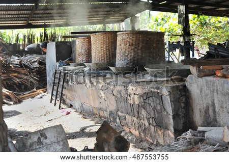 traditional  production plant of making Sugar Palm in Thailand