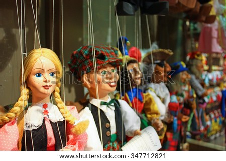 Traditional puppets made of wood. Shop in Prague - Czech Republic - stock photo