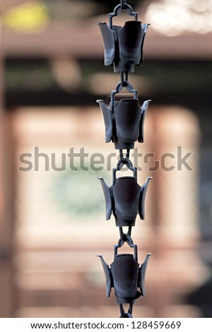 Traditional rain chain detail, Toji Temple, Kyoto - stock photo