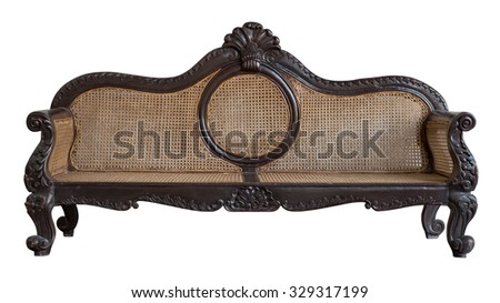 Traditional Rattan Chair, Rattan sofa furniture weave bamboo chair isolated white background with clipping path - stock photo