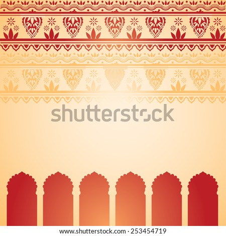Traditional red and cream Indian temple background with henna design border and space for text - stock photo