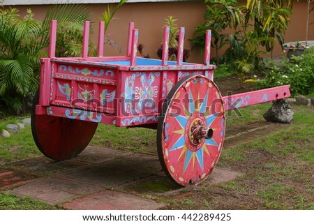 Traditional red Costa Rican ox cart - stock photo