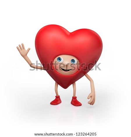 traditional red heart cartoon isolated on white background. Valentine's day greeting. Three dimensional character render - stock photo