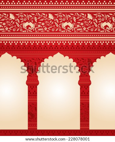 Traditional red Indian floral temple background  - stock photo