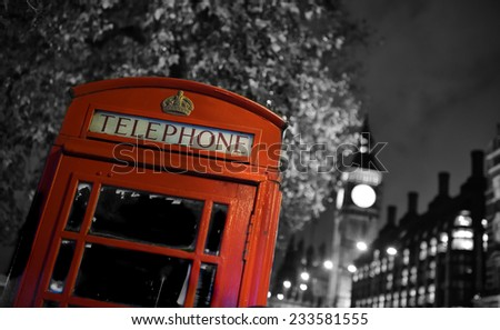Traditional red phone booth in London