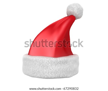 Traditional red Santa hat isolated on white background - stock photo