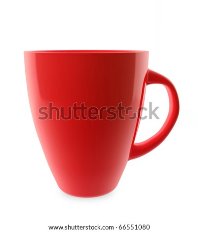 Traditional red tea cup isolated on white.
