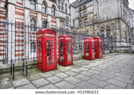 Traditional red telephone booths in London, UK