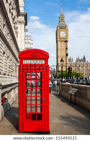 Traditional Red Telephone Box and Big Ben in London, UK - stock photo