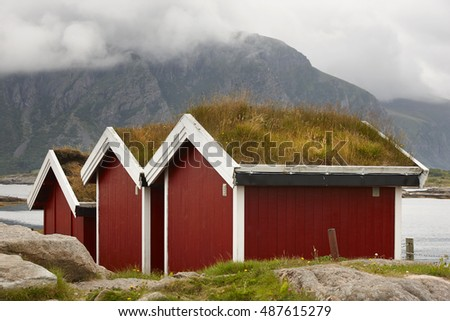 Traditional red wooden norwegian cabins with ground on the roof. Horizontal