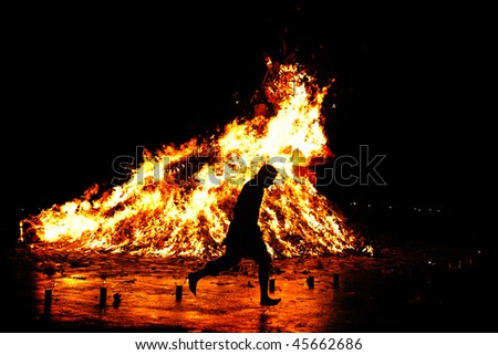 Traditional Religious Fire Run in Asia - stock photo