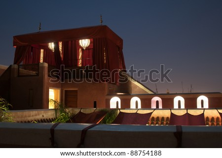 Traditional Riad Tent In Marrakesh At Night - stock photo