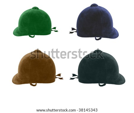 Traditional riding hats used in dressage and jumping - stock photo