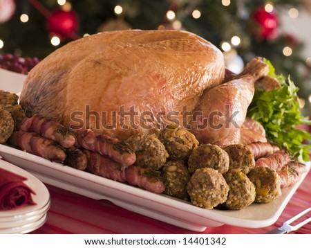 Traditional Roast Turkey with Trimmings - stock photo