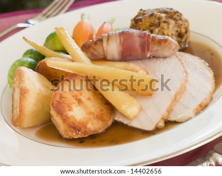 Traditional Roast Turkey with trimmings Plated - stock photo