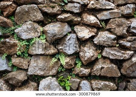 Traditional Rock Wall in Falam Town , Chin State, Western Myanmar (Burma) - stock photo