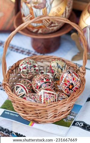 Traditional Romanian Easter eggs, close up - stock photo