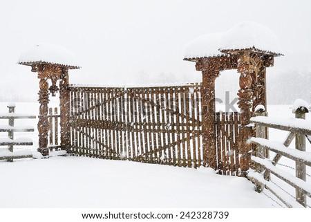 Traditional romanian wooden gate - stock photo