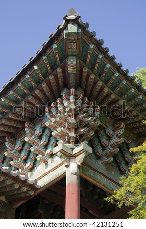 Traditional roof in the Bulguksa Temple, South Korea