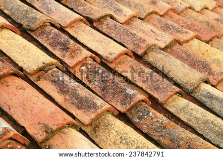 Traditional roof tiles made of ceramic on Mediterranean town of Dubrovnik, Croatia - stock photo
