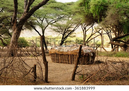 Traditional round house of people from the Samburu tribe in the South Horr village in Kenya  - stock photo
