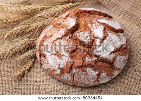 Traditional round rye bread - stock photo