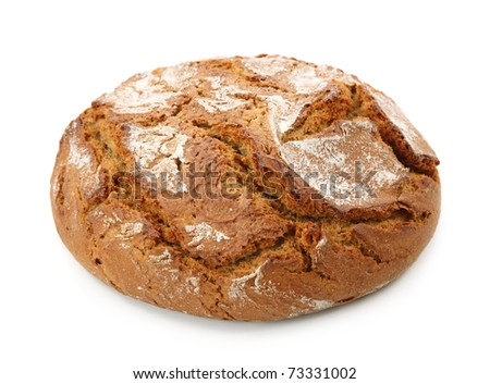 Traditional round rye bread isolated on white background - stock photo