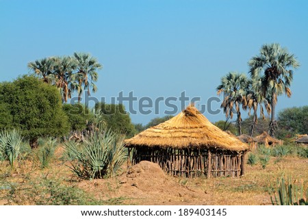 Traditional rural African wood and thatch hut, Caprivi region, Namibia - stock photo