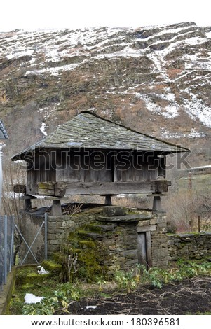 Traditional rural construction in Le�³n, North Spain. Itâ��s used as a granary and warehouse in country villages.  H�³rreo. - stock photo