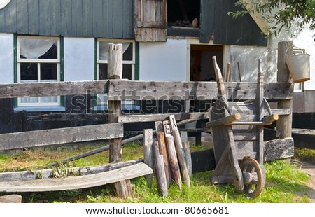 Traditional rural farmhouse in Netherlands - stock photo