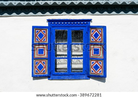 Traditional rural house from Transylvania, Romania - copy space - stock photo