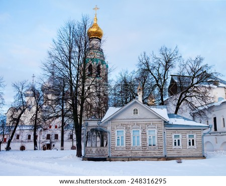 Traditional rural wooden house in north Russia. Vologda. - stock photo