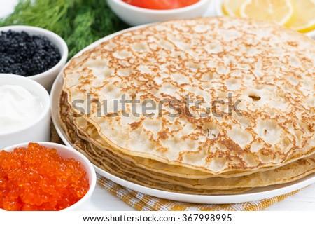 traditional Russian crepes, closeup, horizontal - stock photo