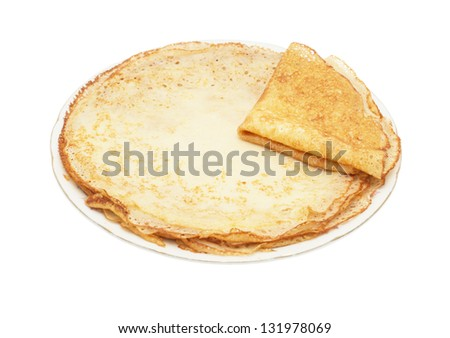 traditional russian crepes, isolated on white