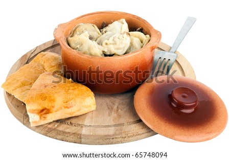 Traditional Russian dish Pelmeni