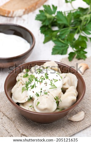 traditional Russian dumplings with sour cream and dill in a bowl, vertical - stock photo