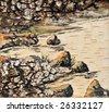 traditional russian folk art river landscape on the bark of birch - stock photo