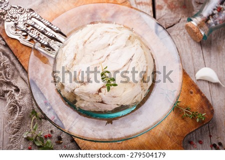 Traditional Russian food. Aspic chicken jelly.selective focus - stock photo
