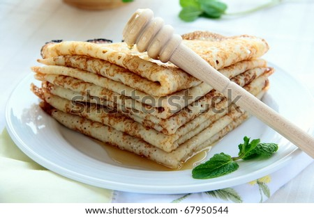 Traditional Russian pancakes on a plate