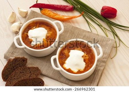 Traditional Russian sour cabbage soup - stock photo