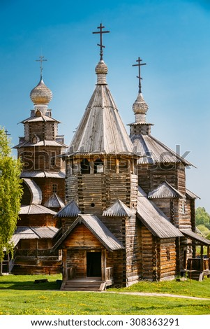 Traditional Russian Wooden Church Of The Resurrection From Village Of Patakino, Transported In Suzdal - A Monument Of Wooden Architecture Of The Xviii Century. Golden Ring Of Russia. - stock photo
